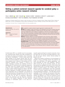 Setting a Patient-Centered Research Agenda for Cerebral Palsy