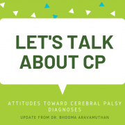 A white speech bubble against a lime green background with the words 'Let's talk about CP'.
