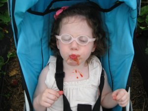 A young girl with brown hair and glasses has a messy face after eating a sno-cone in her stroller.
