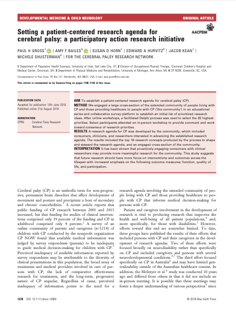 Research CP -- Setting a Patient-Centered Research Agenda for Cerebral Palsy