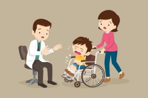 A cartoon image of a crying boy being wheeled into the doctor by his mother.