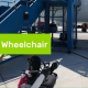 """""""Traveling with a wheelchair"""" on a bright green banner with a pic of a wheelchair aside a plane by the ramp to enter the plane"""