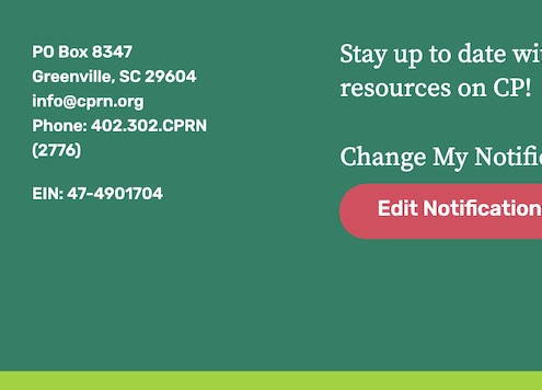 The footer from the CP Research Network website set on a dark green, with a pink button so you can change your notifications.